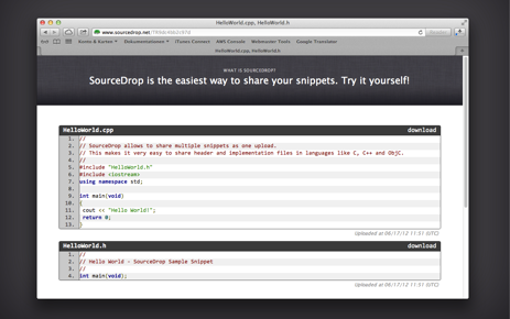 SourceDrop PasteBin screenshot in browser